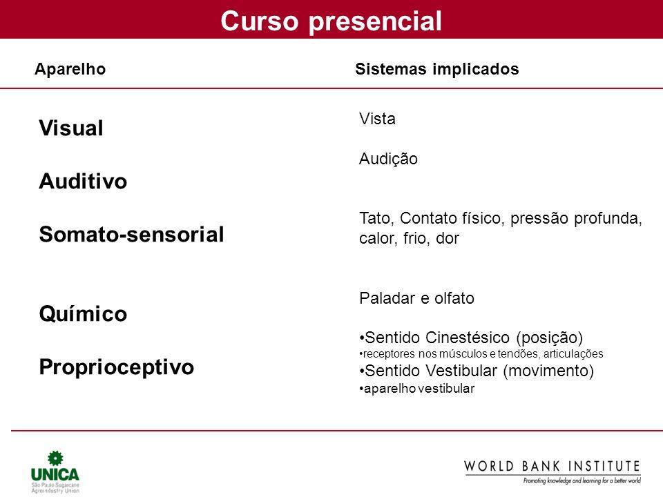 Curso presencial Visual Auditivo Somato-sensorial Químico