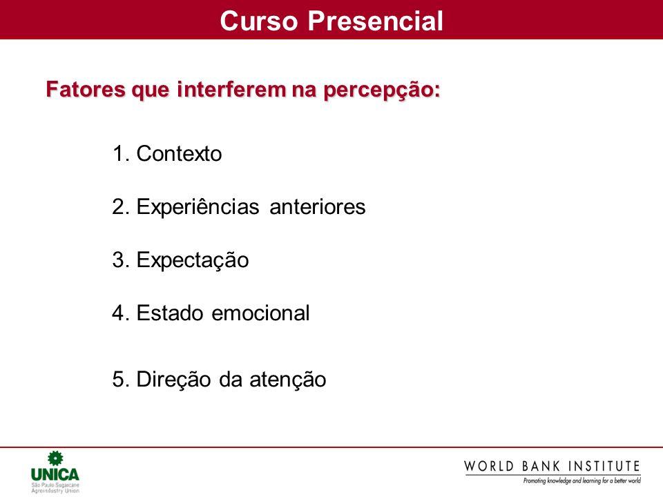 Curso Presencial Fatores que interferem na percepção: 1. Contexto