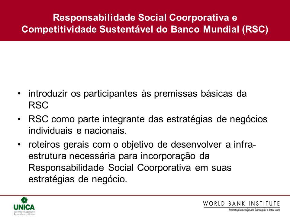 Responsabilidade Social Coorporativa e Competitividade Sustentável do Banco Mundial (RSC)