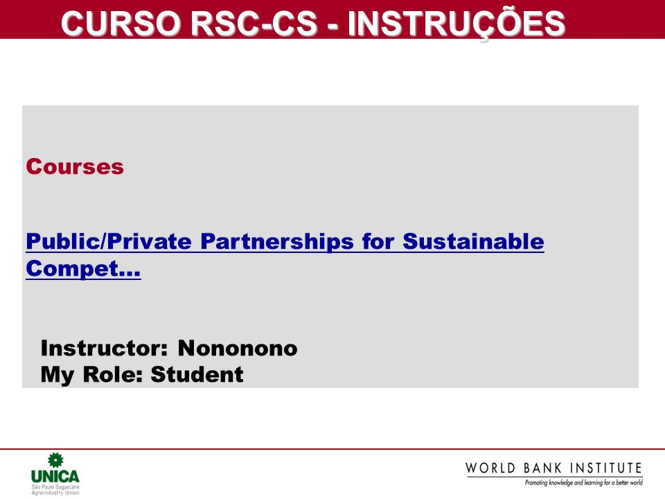 CURSO RSC-CS - INSTRUÇÕES