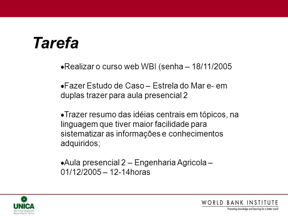 Tarefa Realizar o curso web WBI (senha – 18/11/2005