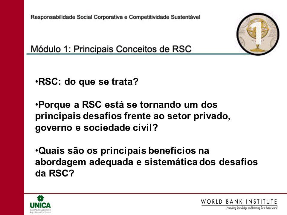 RSC: do que se trata Porque a RSC está se tornando um dos principais desafios frente ao setor privado, governo e sociedade civil