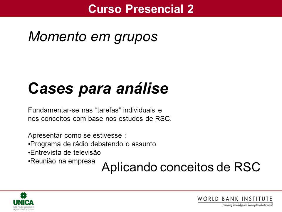 Cases para análise Momento em grupos Aplicando conceitos de RSC