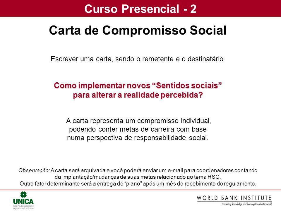 Carta de Compromisso Social Como implementar novos Sentidos sociais