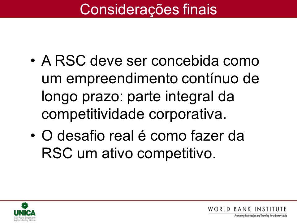 Considerações finaisA RSC deve ser concebida como um empreendimento contínuo de longo prazo: parte integral da competitividade corporativa.