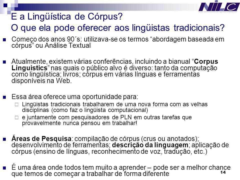 E a Lingüística de Córpus