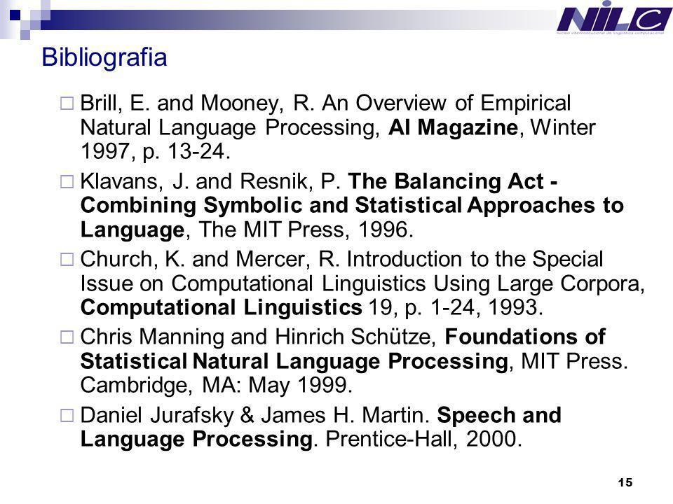 Bibliografia Brill, E. and Mooney, R. An Overview of Empirical Natural Language Processing, AI Magazine, Winter 1997, p. 13-24.
