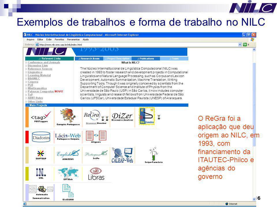 Exemplos de trabalhos e forma de trabalho no NILC