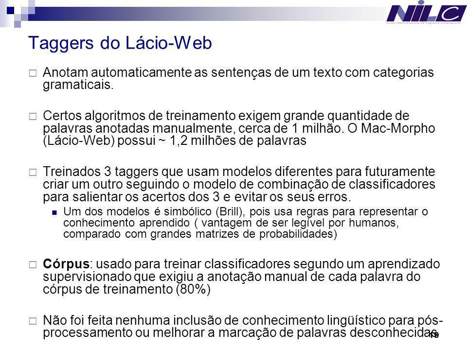 Taggers do Lácio-Web Anotam automaticamente as sentenças de um texto com categorias gramaticais.