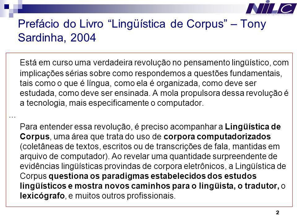 Prefácio do Livro Lingüística de Corpus – Tony Sardinha, 2004