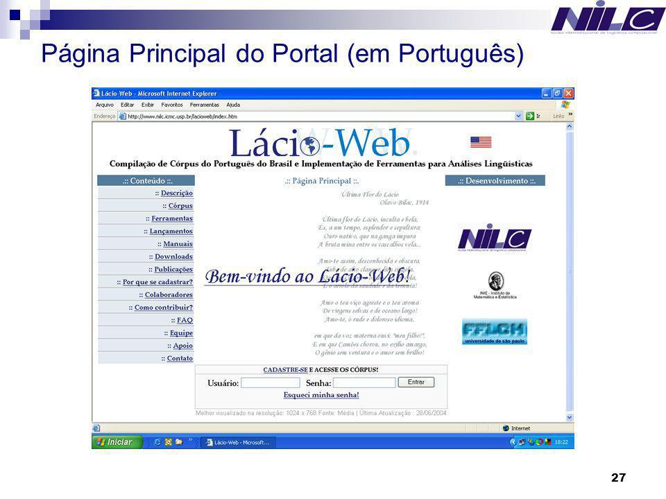 Página Principal do Portal (em Português)