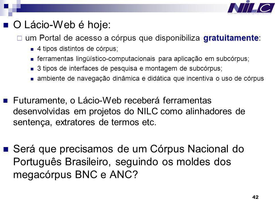 O Lácio-Web é hoje: um Portal de acesso a córpus que disponibiliza gratuitamente: 4 tipos distintos de córpus;