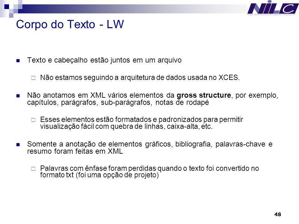 Corpo do Texto - LW Texto e cabeçalho estão juntos em um arquivo