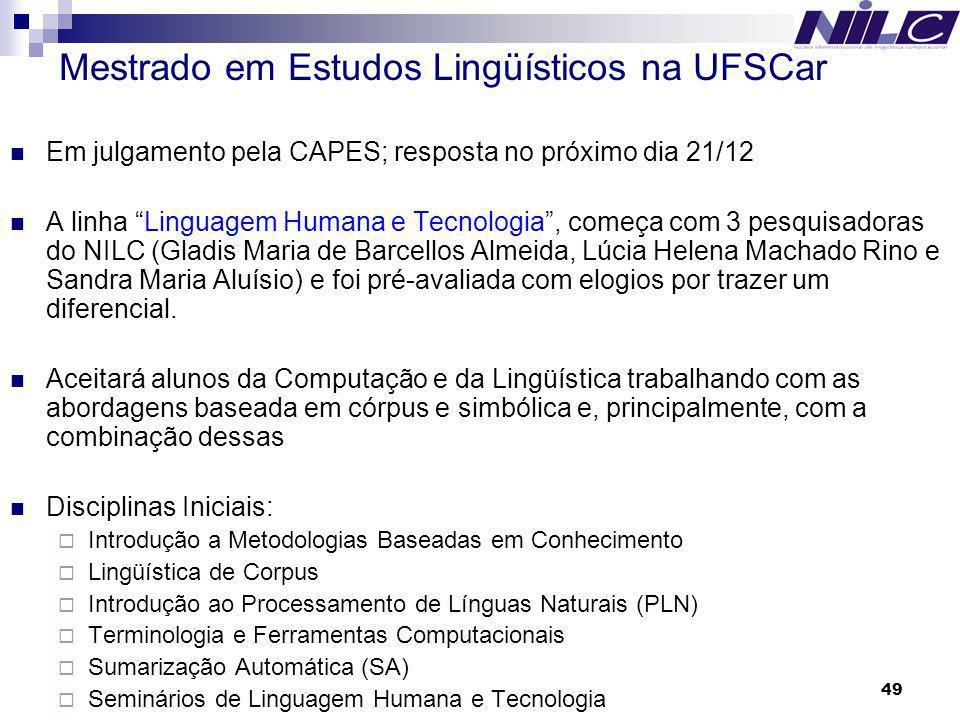 Mestrado em Estudos Lingüísticos na UFSCar