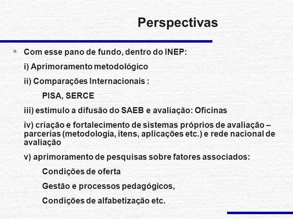 Perspectivas Com esse pano de fundo, dentro do INEP: