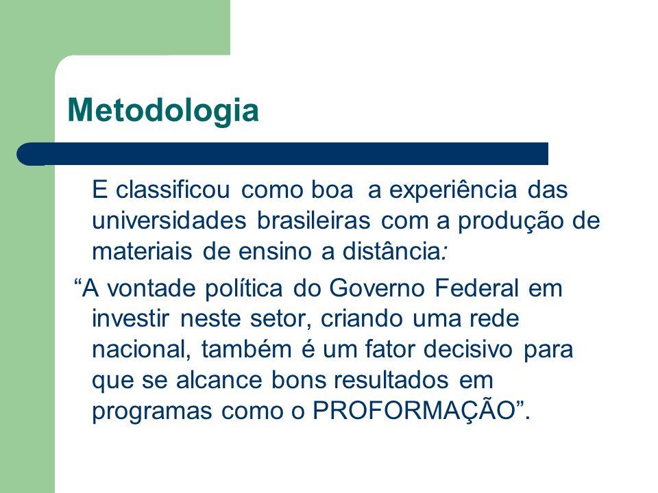 Metodologia E classificou como boa a experiência das universidades brasileiras com a produção de materiais de ensino a distância: