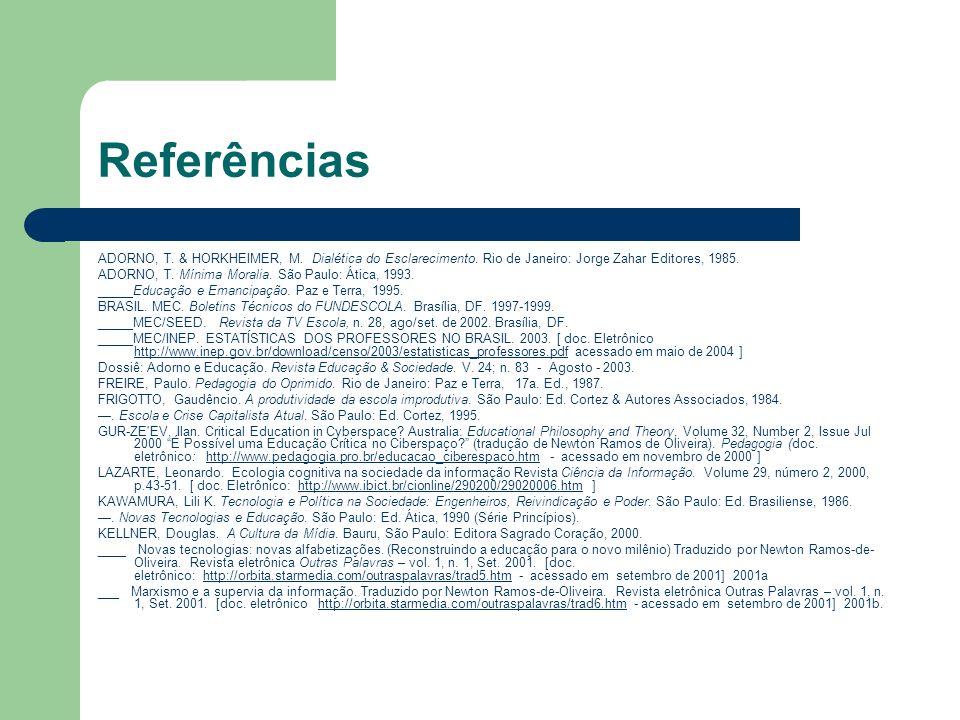 Referências ADORNO, T. & HORKHEIMER, M. Dialética do Esclarecimento. Rio de Janeiro: Jorge Zahar Editores, 1985.