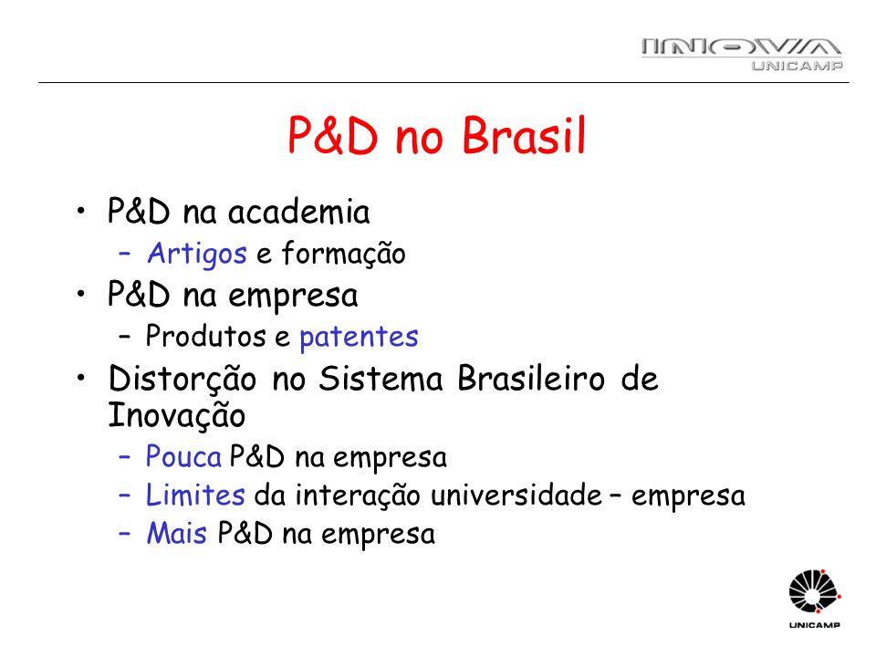 P&D no Brasil P&D na academia P&D na empresa