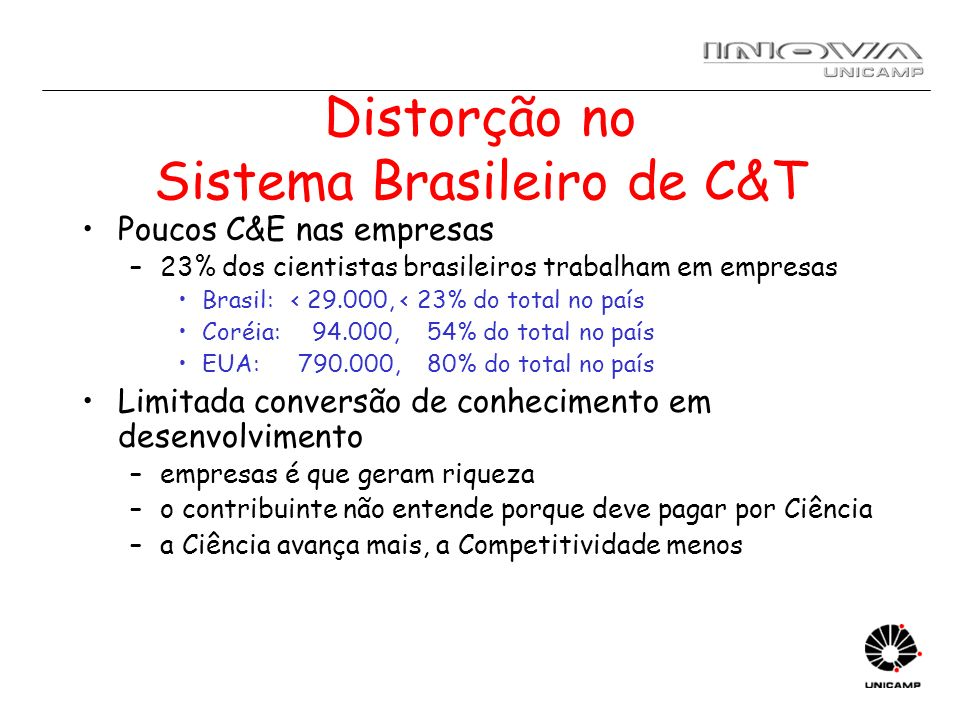 Distorção no Sistema Brasileiro de C&T