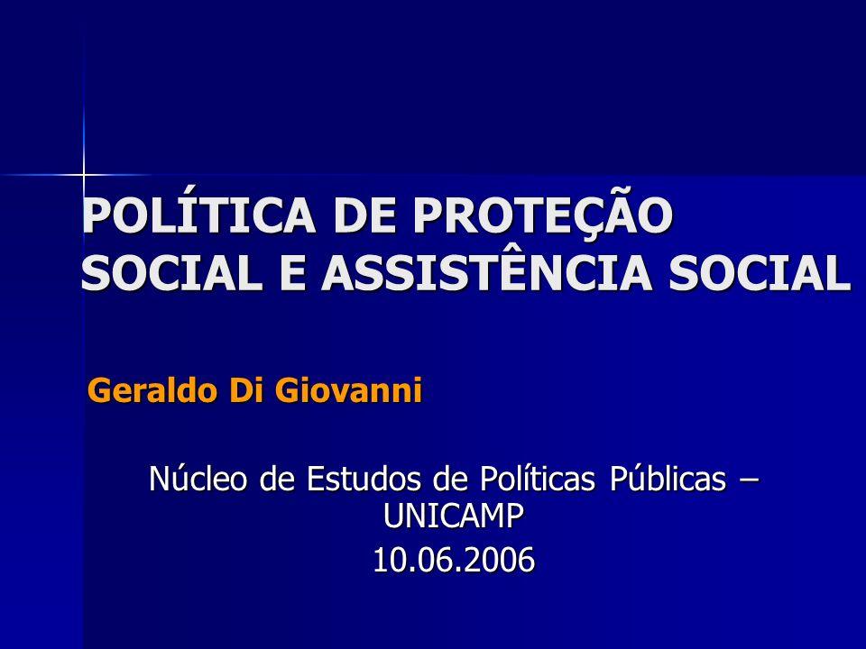 POLÍTICA DE PROTEÇÃO SOCIAL E ASSISTÊNCIA SOCIAL