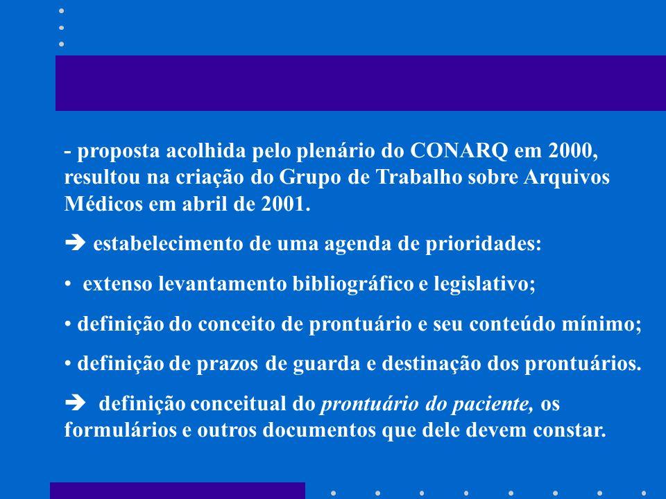 - proposta acolhida pelo plenário do CONARQ em 2000, resultou na criação do Grupo de Trabalho sobre Arquivos Médicos em abril de 2001.