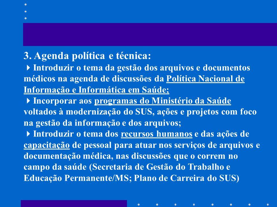 3. Agenda política e técnica: