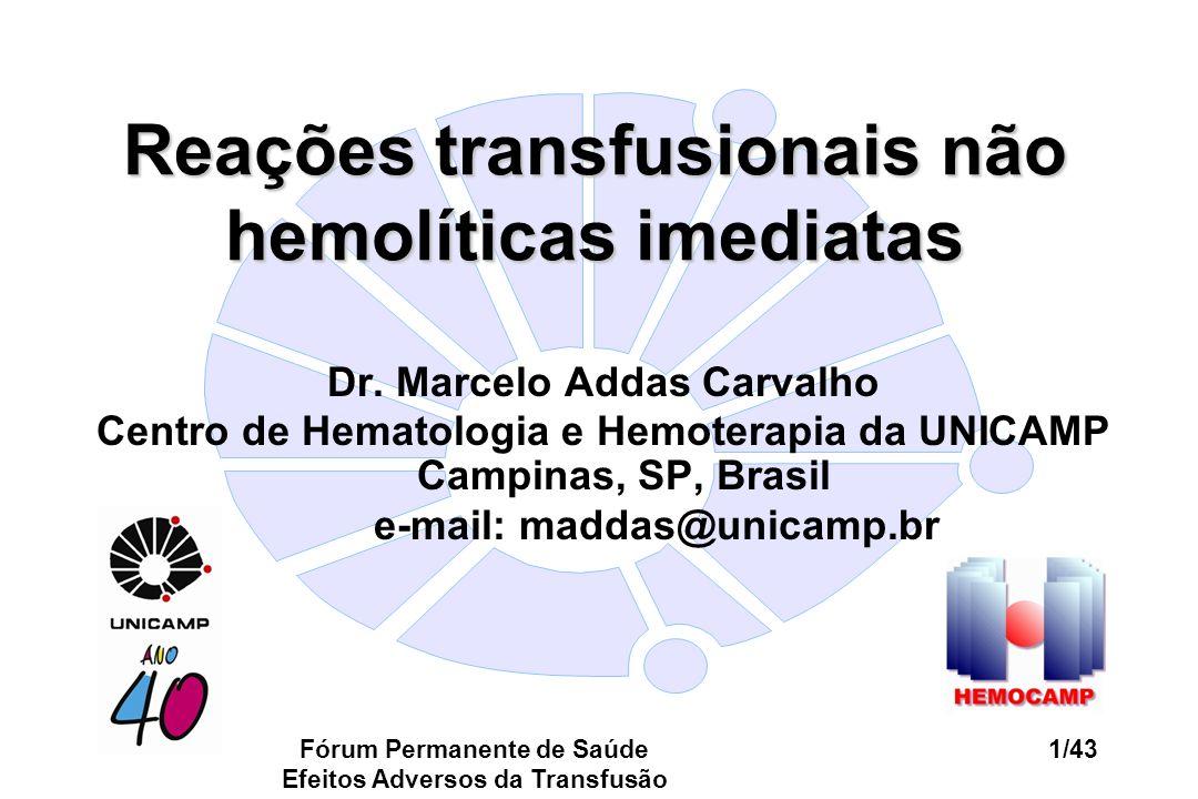 Reações transfusionais não hemolíticas imediatas