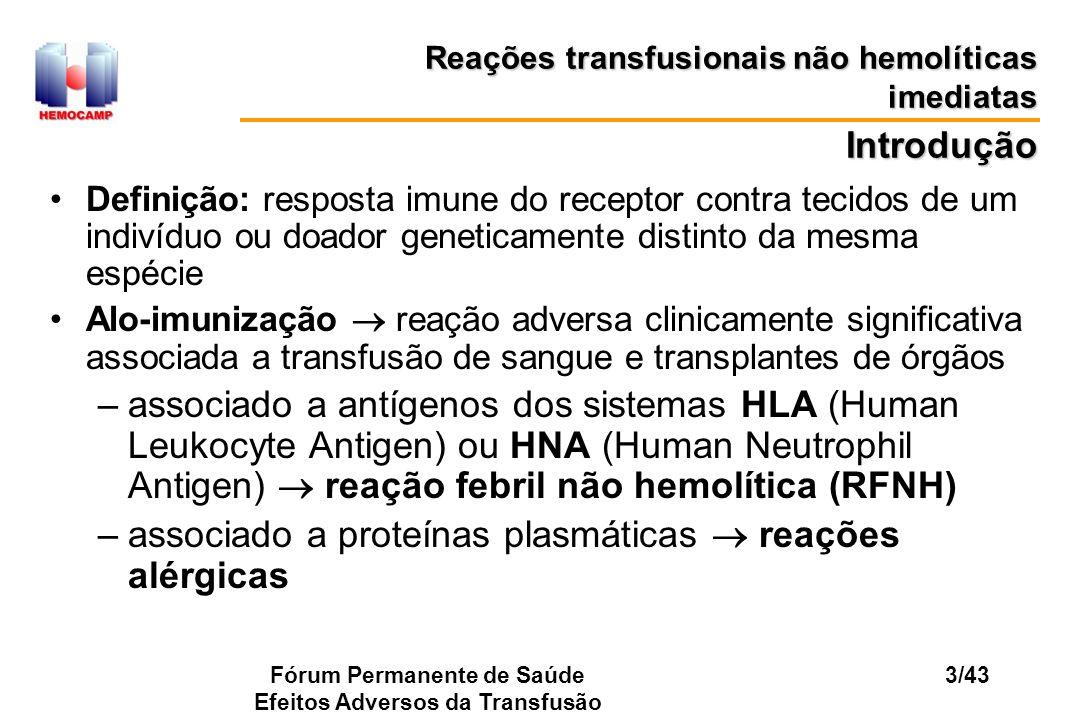 Fórum Permanente de Saúde Efeitos Adversos da Transfusão