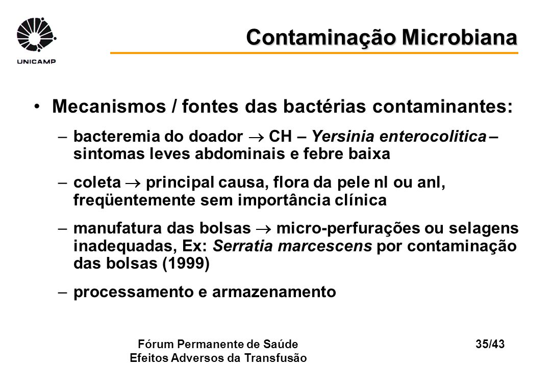 Contaminação Microbiana