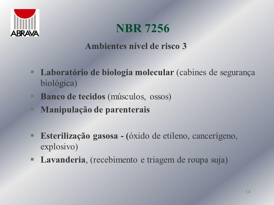 NBR 7256 Ambientes nível de risco 3