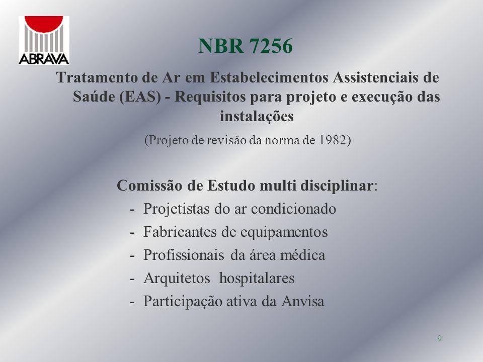 NBR 7256Tratamento de Ar em Estabelecimentos Assistenciais de Saúde (EAS) - Requisitos para projeto e execução das instalações.