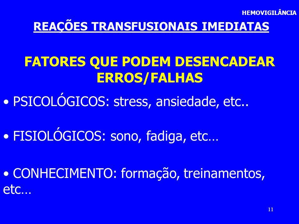 FATORES QUE PODEM DESENCADEAR ERROS/FALHAS