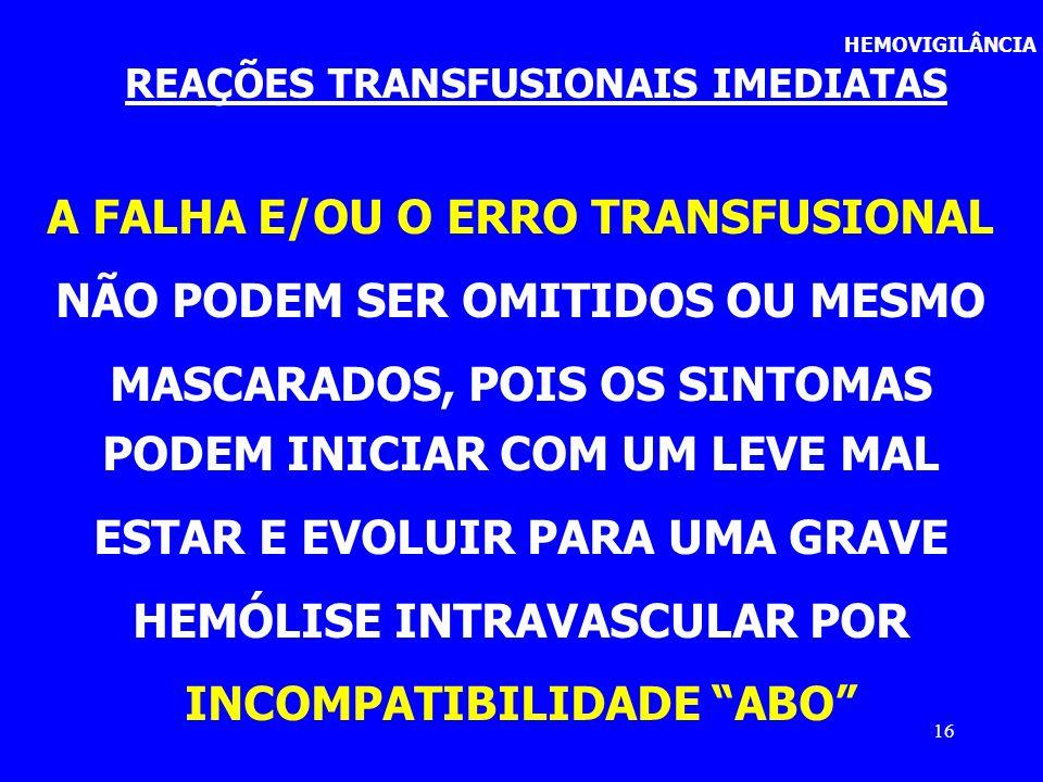 A FALHA E/OU O ERRO TRANSFUSIONAL NÃO PODEM SER OMITIDOS OU MESMO