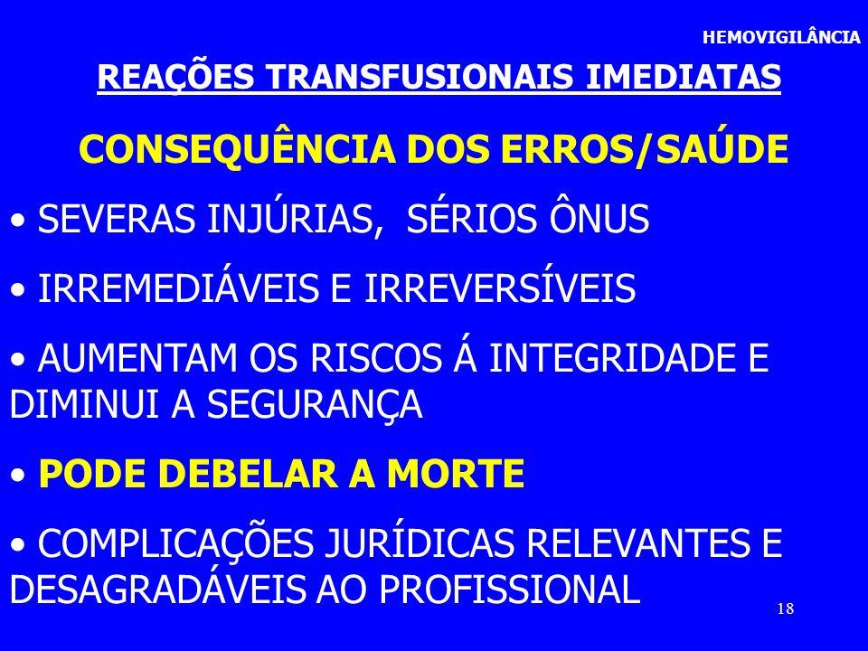 REAÇÕES TRANSFUSIONAIS IMEDIATAS CONSEQUÊNCIA DOS ERROS/SAÚDE