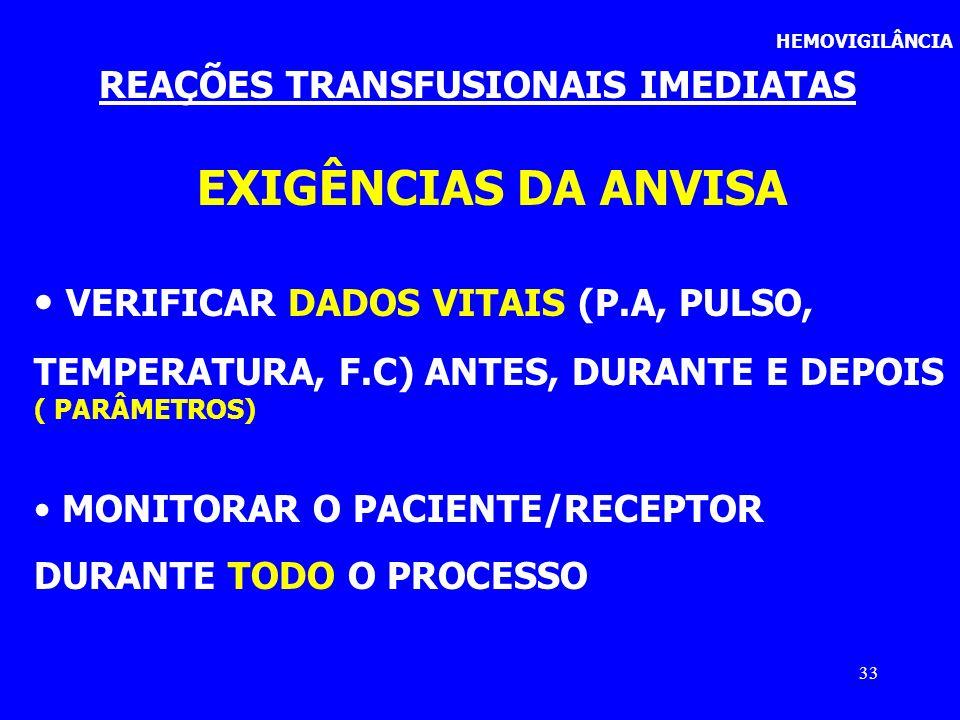 REAÇÕES TRANSFUSIONAIS IMEDIATAS