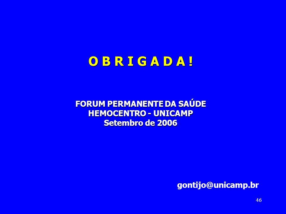 O B R I G A D A ! FORUM PERMANENTE DA SAÚDE HEMOCENTRO - UNICAMP Setembro de 2006