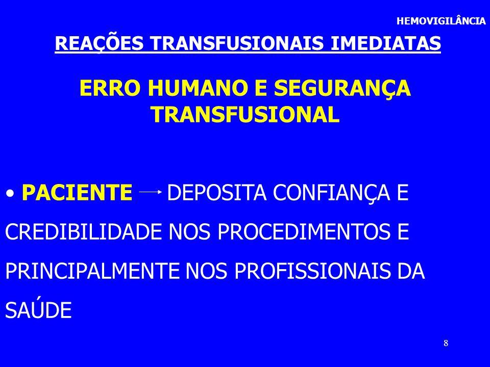 REAÇÕES TRANSFUSIONAIS IMEDIATAS ERRO HUMANO E SEGURANÇA TRANSFUSIONAL