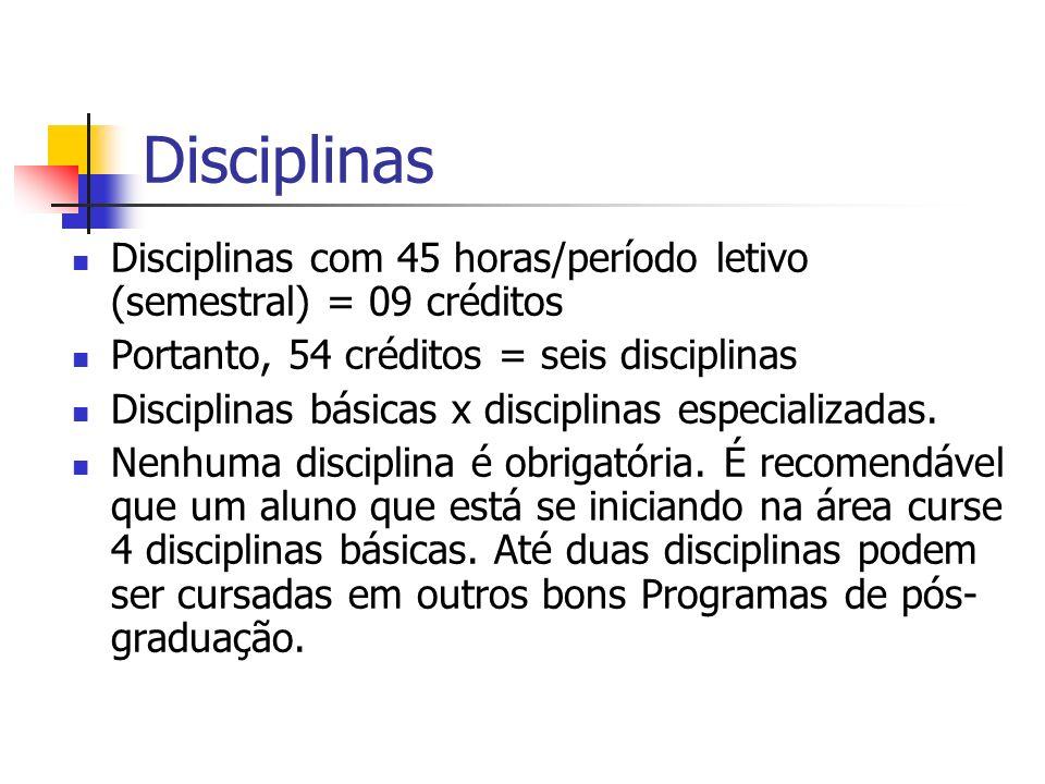 Disciplinas Disciplinas com 45 horas/período letivo (semestral) = 09 créditos. Portanto, 54 créditos = seis disciplinas.