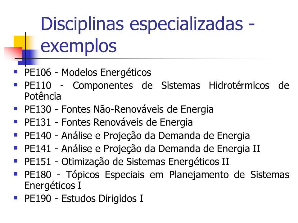Disciplinas especializadas - exemplos