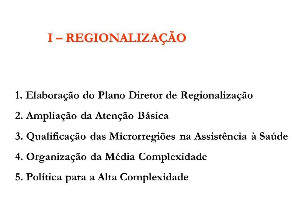 I – REGIONALIZAÇÃO 1. Elaboração do Plano Diretor de Regionalização