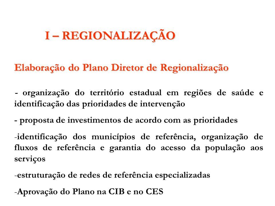 I – REGIONALIZAÇÃO Elaboração do Plano Diretor de Regionalização