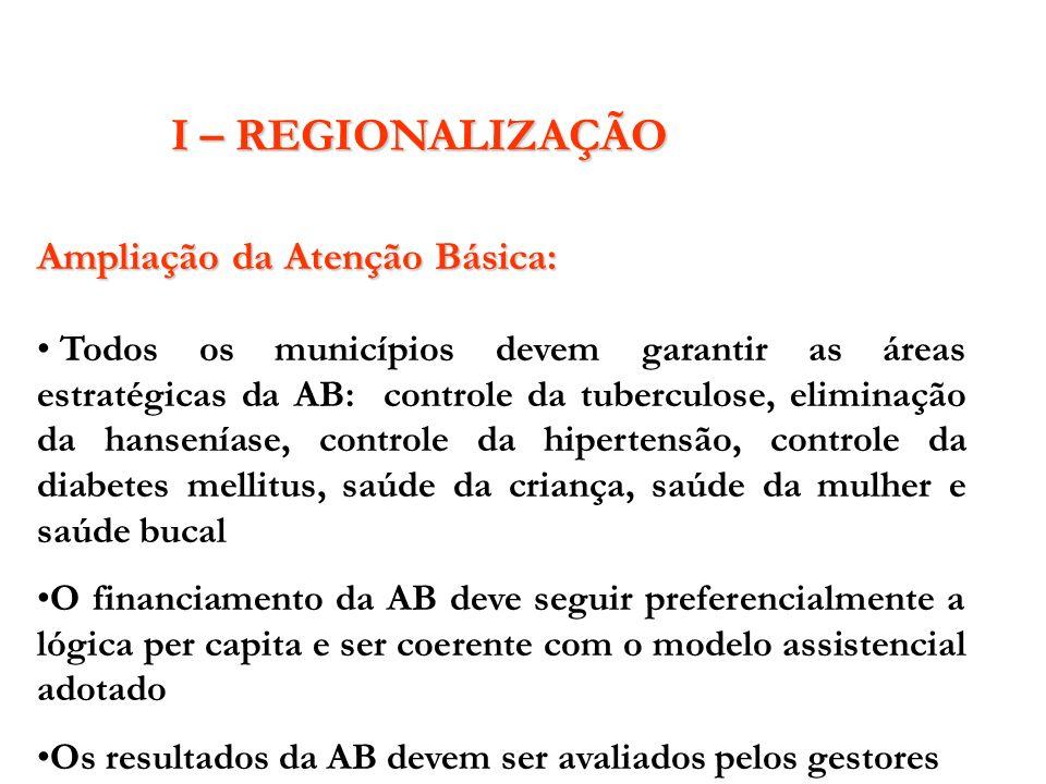 I – REGIONALIZAÇÃO Ampliação da Atenção Básica: