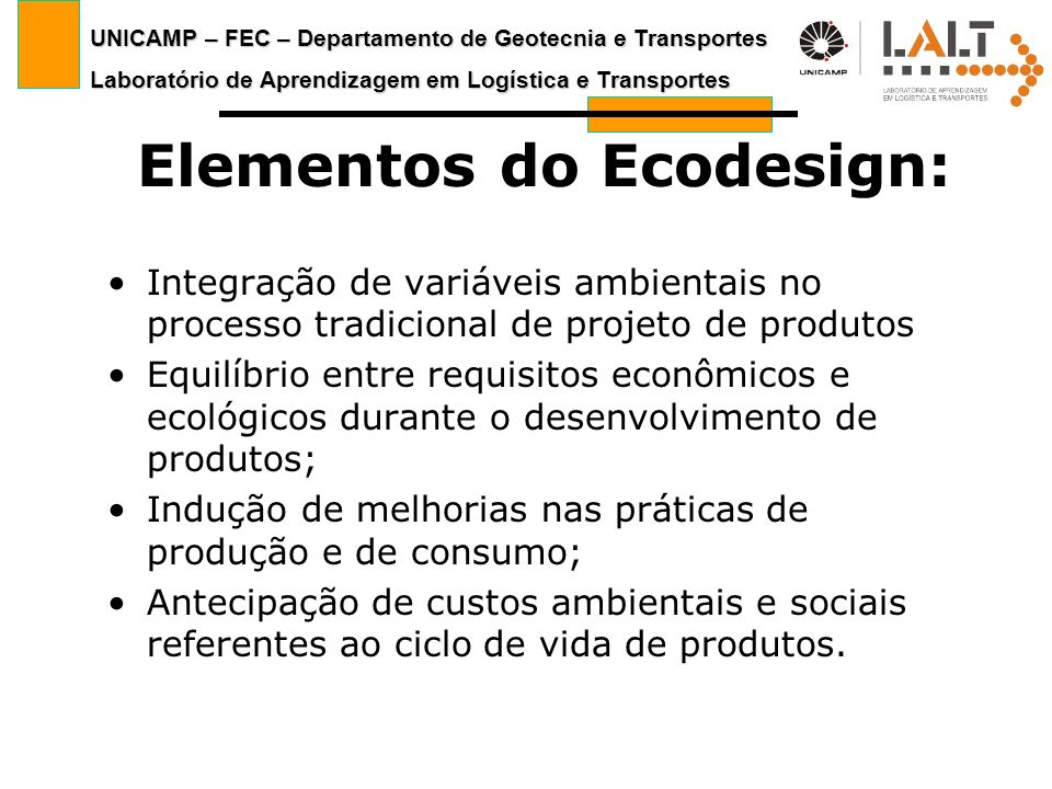 Elementos do Ecodesign: