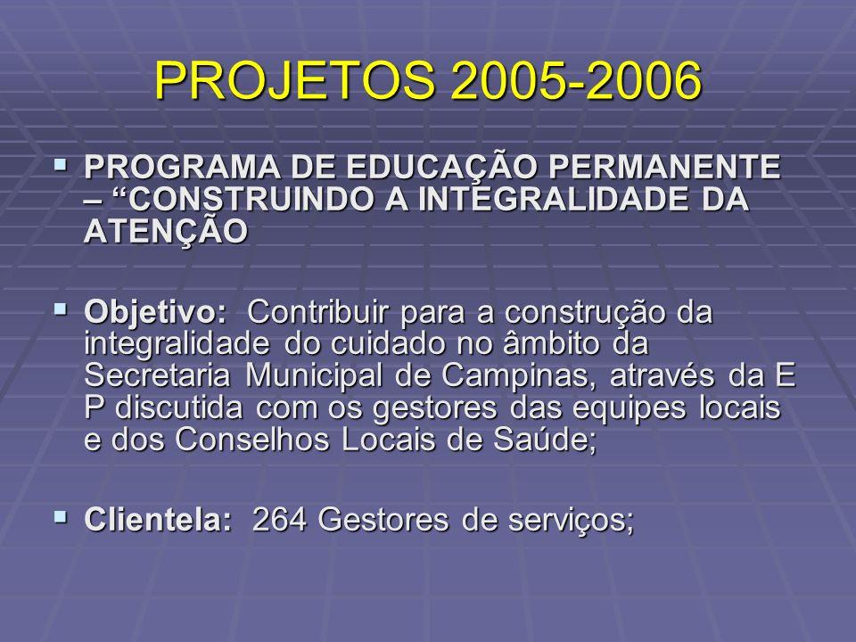 PROJETOS 2005-2006 PROGRAMA DE EDUCAÇÃO PERMANENTE – CONSTRUINDO A INTEGRALIDADE DA ATENÇÃO.
