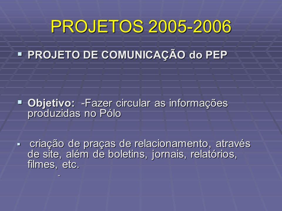 PROJETOS 2005-2006 PROJETO DE COMUNICAÇÃO do PEP