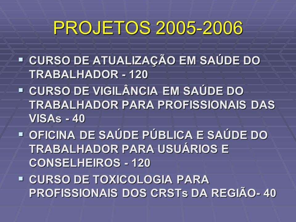 PROJETOS 2005-2006 CURSO DE ATUALIZAÇÃO EM SAÚDE DO TRABALHADOR - 120