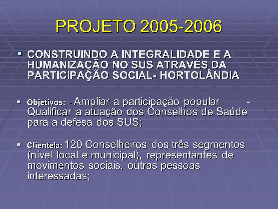 PROJETO 2005-2006 CONSTRUINDO A INTEGRALIDADE E A HUMANIZAÇÃO NO SUS ATRAVÉS DA PARTICIPAÇÃO SOCIAL- HORTOLÂNDIA.