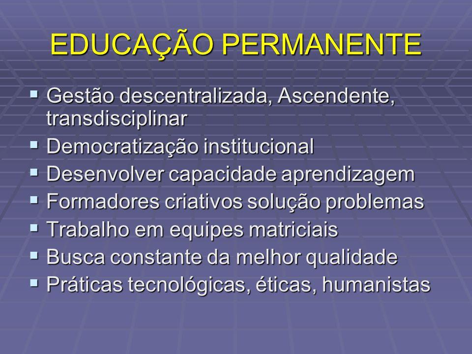 EDUCAÇÃO PERMANENTE Gestão descentralizada, Ascendente, transdisciplinar. Democratização institucional.