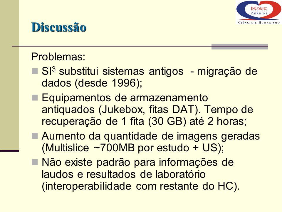 Discussão Problemas: SI3 substitui sistemas antigos - migração de dados (desde 1996);