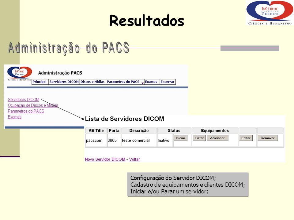 Resultados Administração do PACS Configuração do Servidor DICOM;